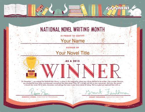 NaNoWriMo 2015 Winner Certificate